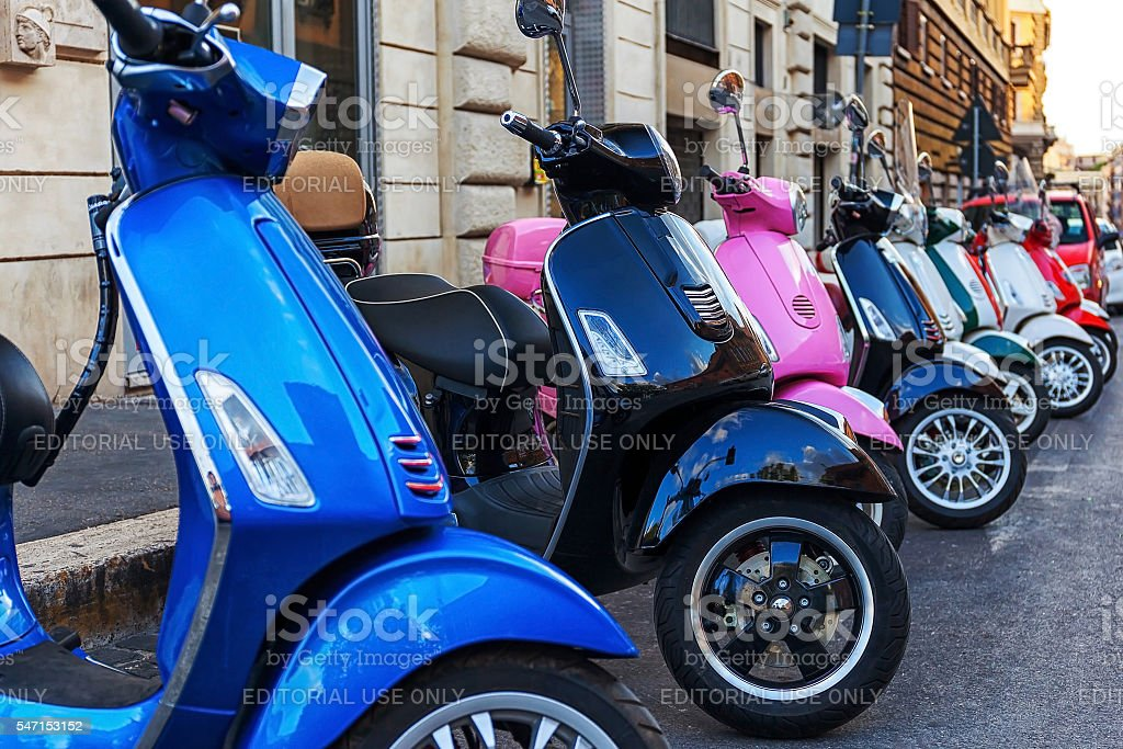 Multi-colored scooters stock photo