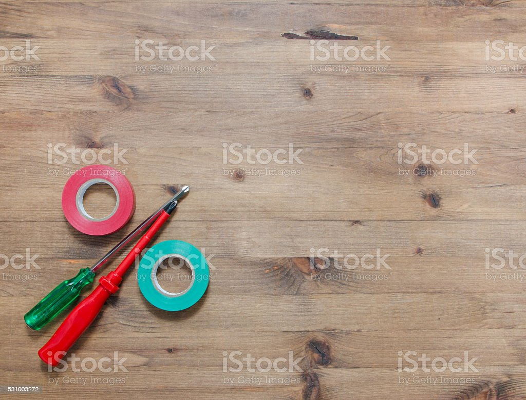 multicolored screwdrivers insulating tapes stock photo