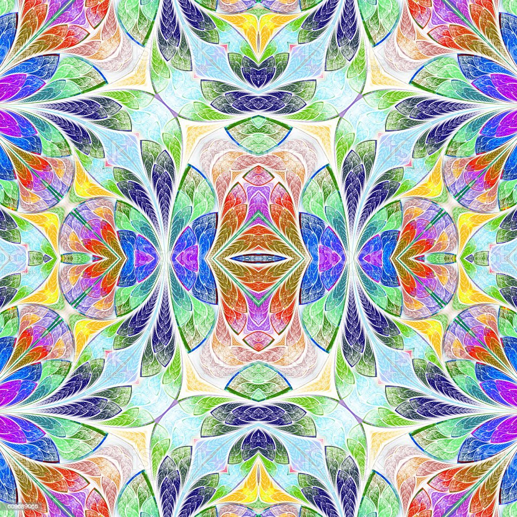 Multicolored seamless background in stained-glass window style. vector art illustration