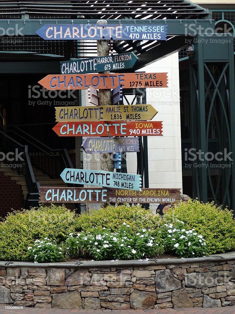A multicolored sign in Charlotte, North Carolina stock photo