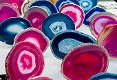 Multi-colored slices of semi-precious stones agate stone