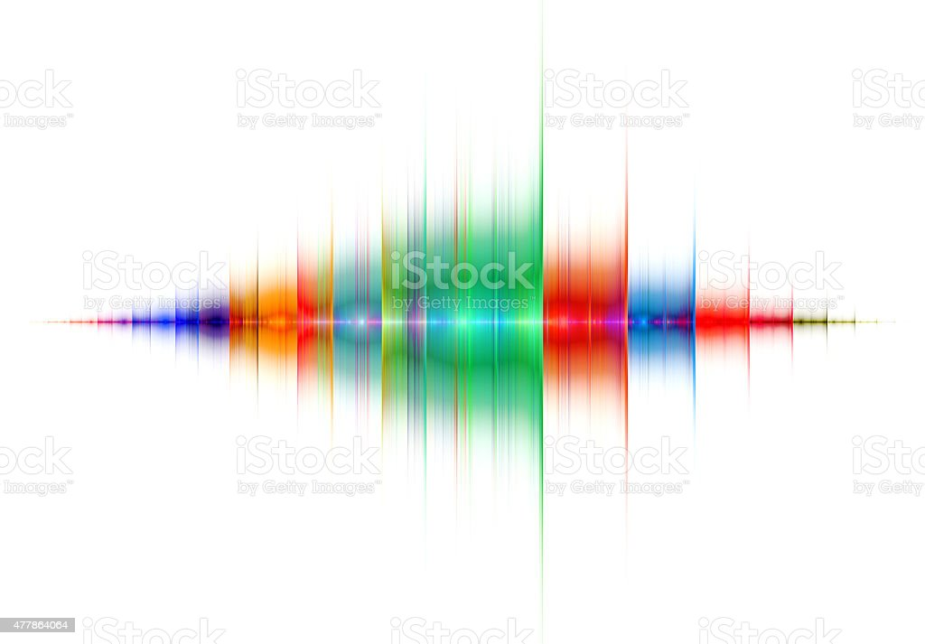 Multicolored sound wave on white background stock photo