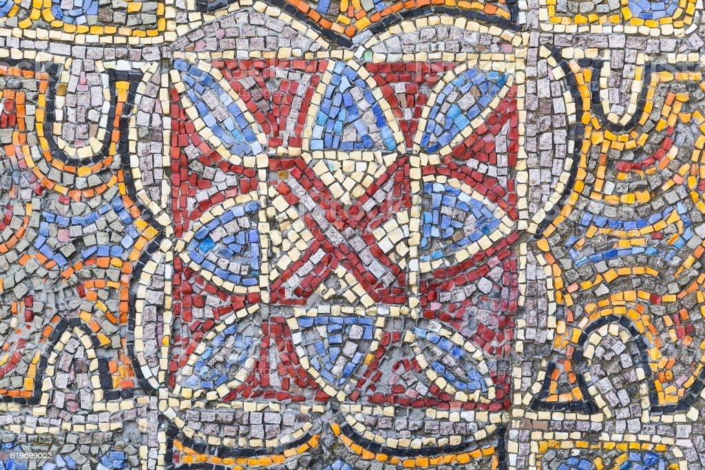 multicolored Soviet style mosaic tile stock photo