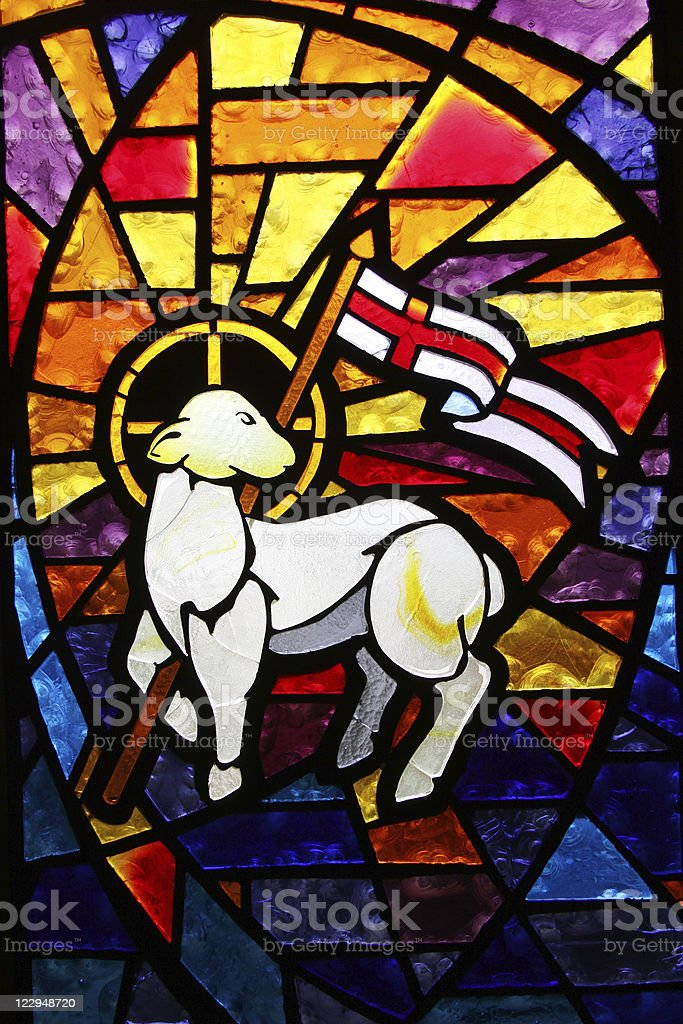 Multicolored Stained Glass Window - Lamb of God stock photo