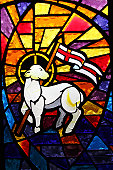 Multicolored Stained Glass Window - Lamb of God