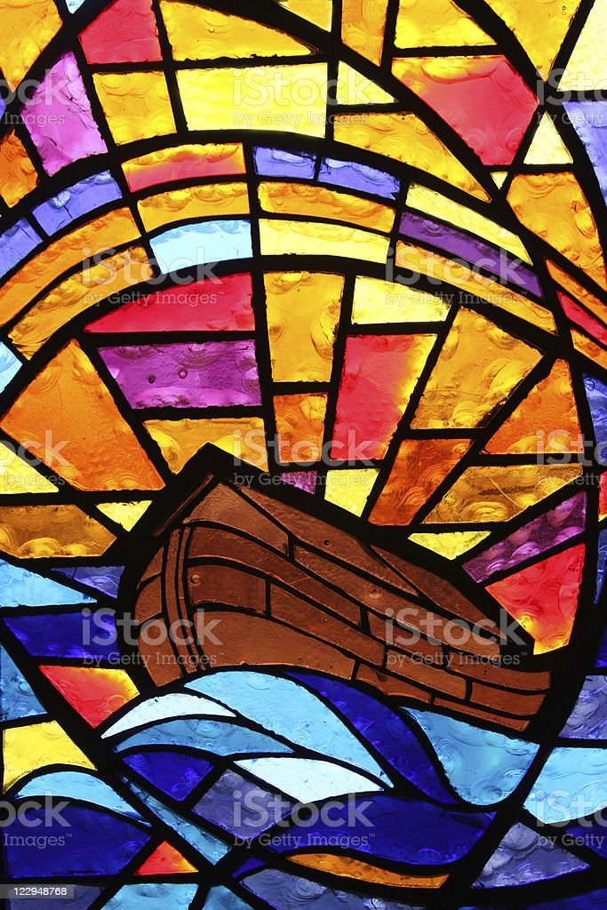 Multicolored Stained Glass Window - Noah's Ark with Rainbow royalty-free stock photo