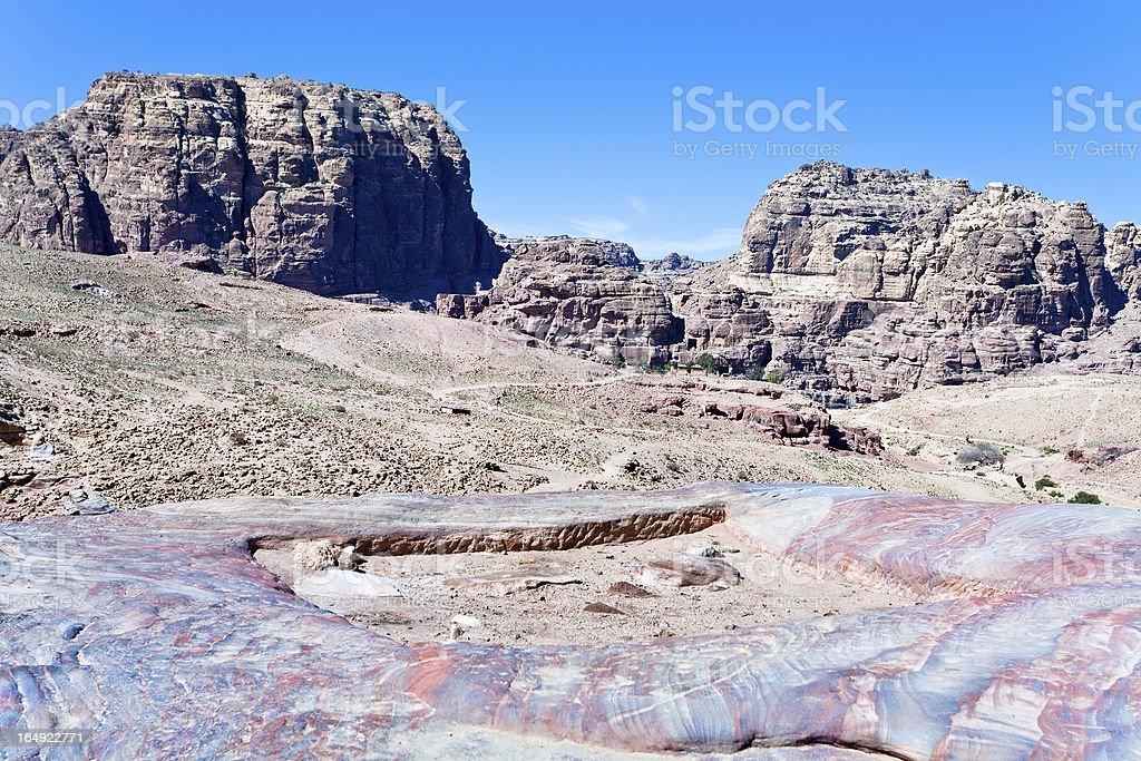 multicolored stone dessert in Petra valley, Jordan royalty-free stock photo