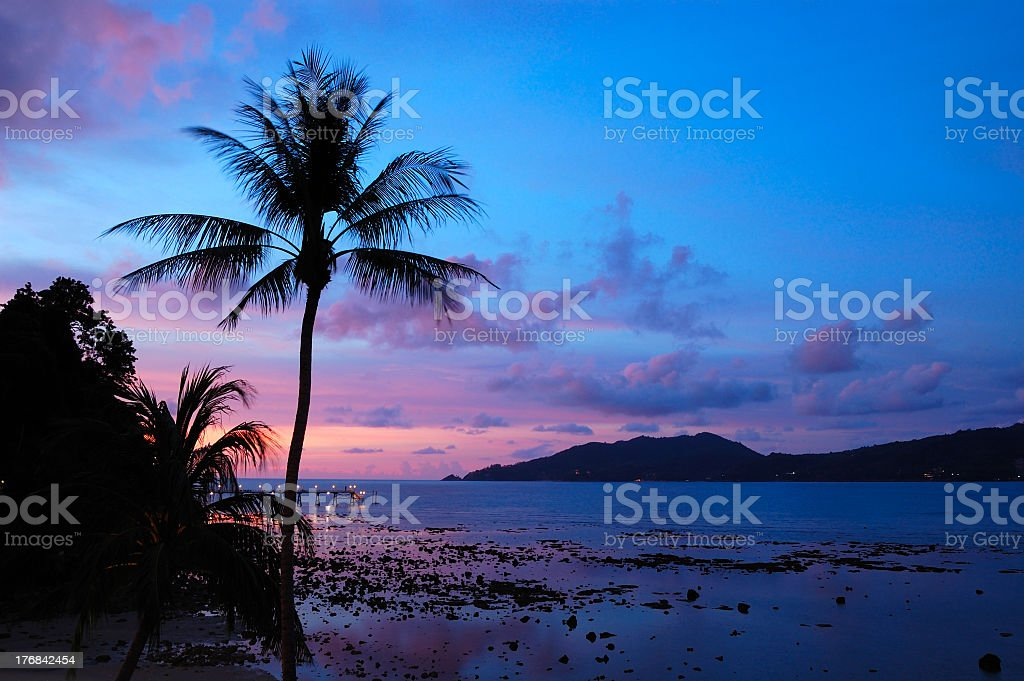 A multicolored sunset at the Patong Beach, Thailand  stock photo