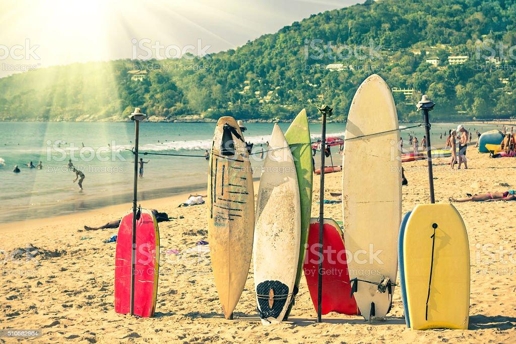Multicolored surfboards at  Kata Beach in Phuket Island stock photo