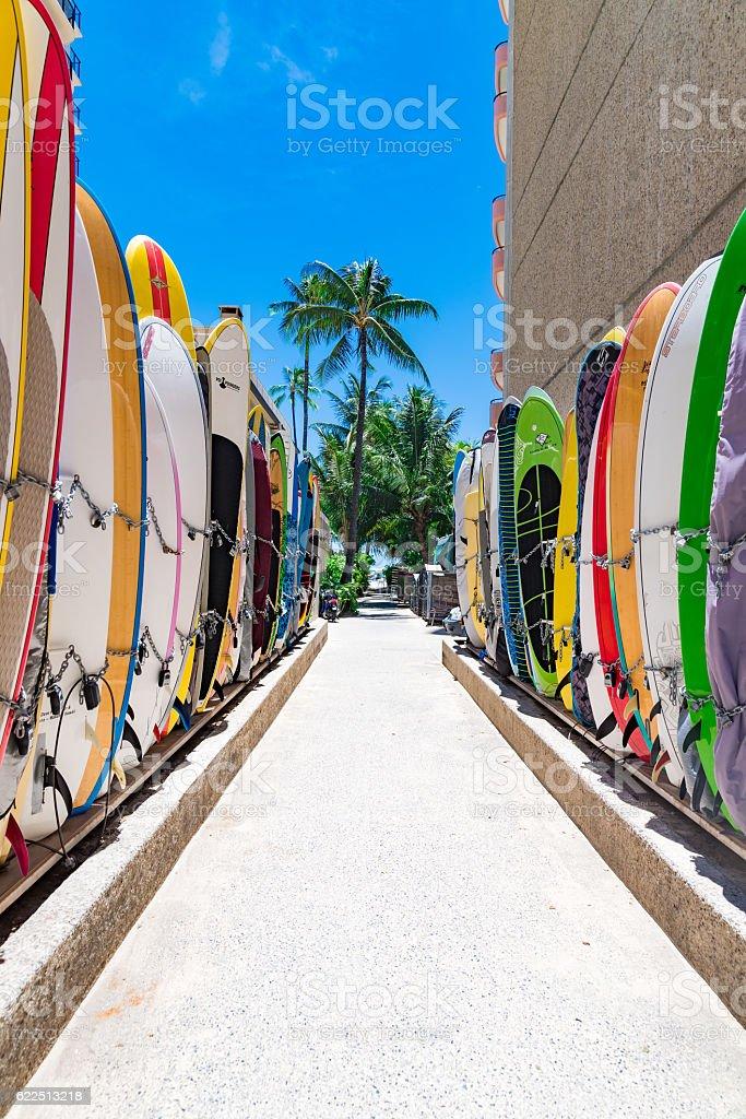 Multicolored surfboards stock photo