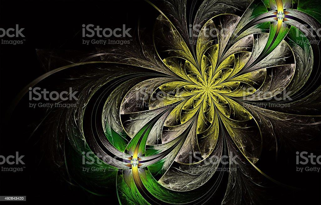 Multicolored symmetrical fractal pattern as flower stock photo