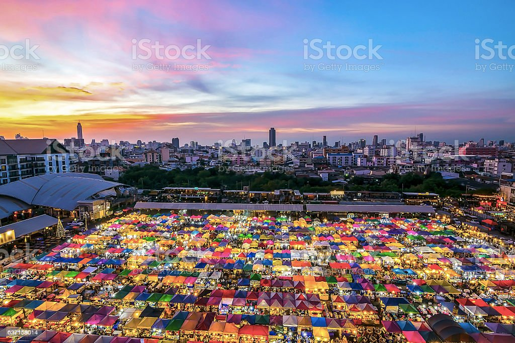Multi-colored tents /Sales of second-hand market in Bangkok stock photo