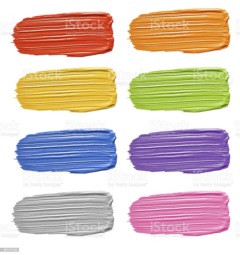 Multicolored Textured Paint Brushstroke Smears Isolated on White stock photo