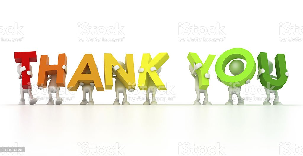 Multicolored thank you held up by cartoon men stock photo