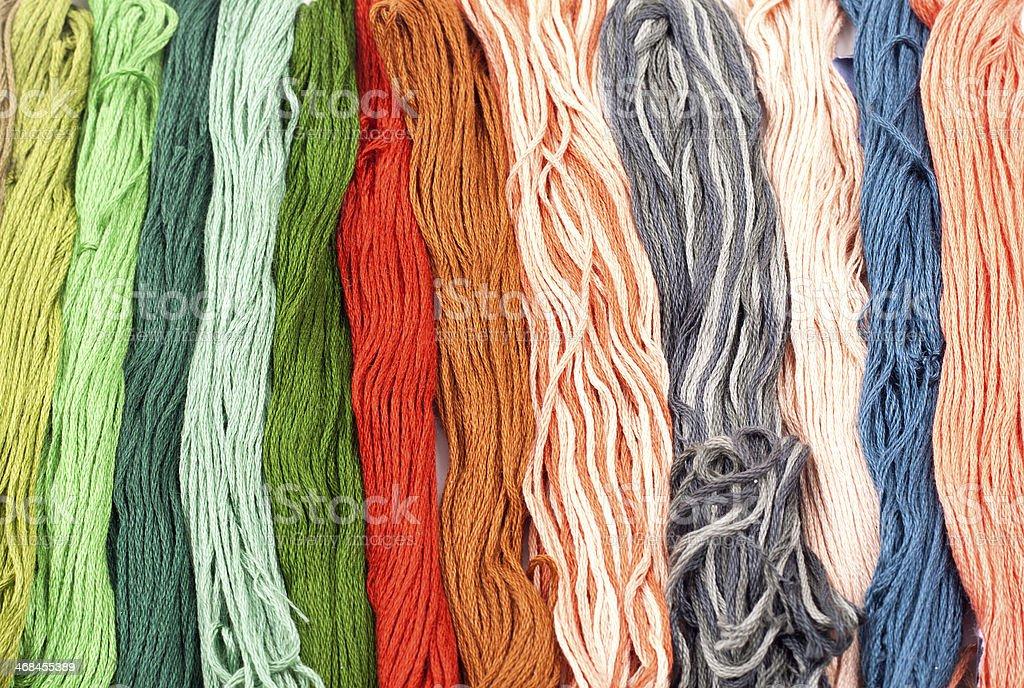 multicolored threads stock photo