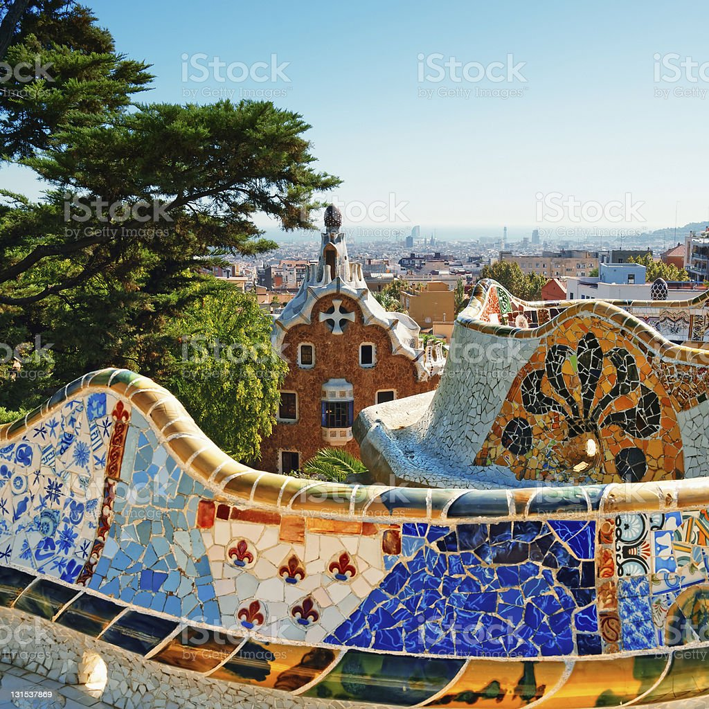 Multicolored tile walls at Park Guell in Barcelona Spain stock photo
