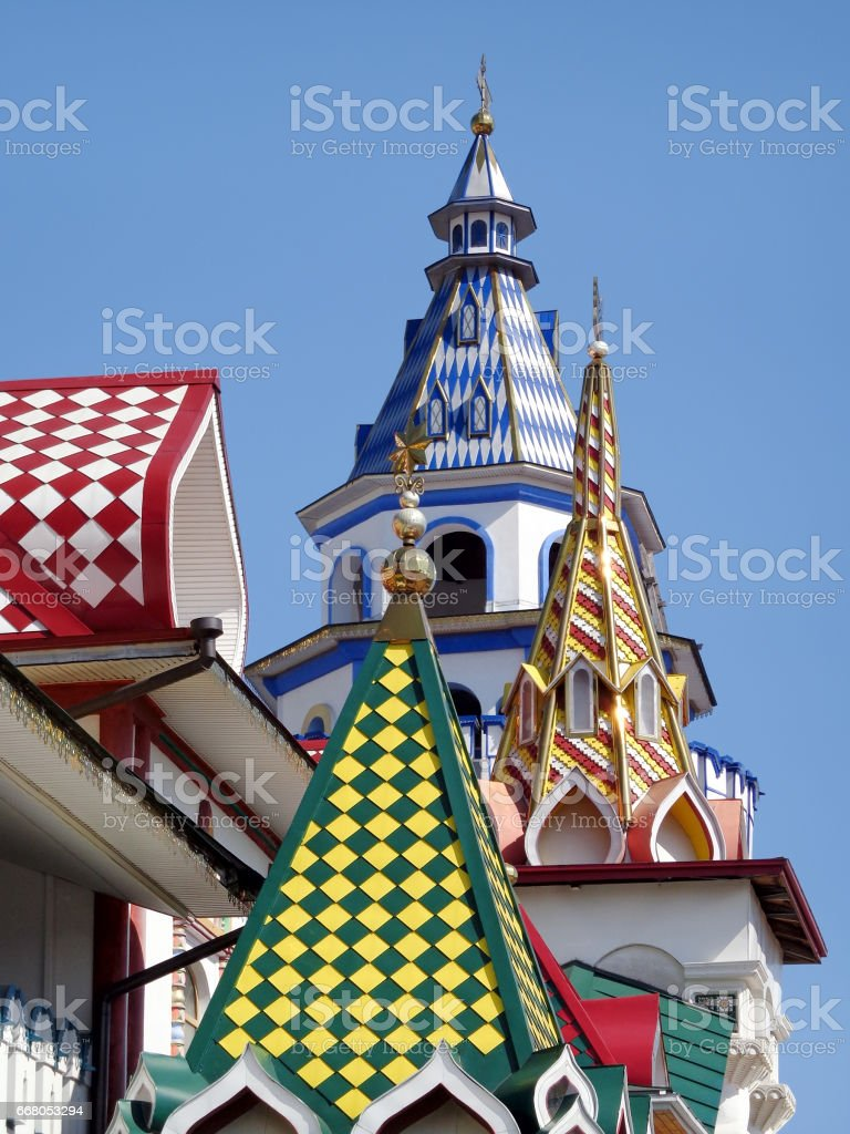 Multicolored towers and domes stock photo