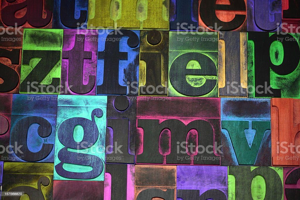 Multicolored typeset stock photo