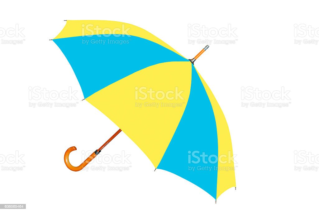 Multicolored umbrella in Ukrainian flag colors isolated on white stock photo
