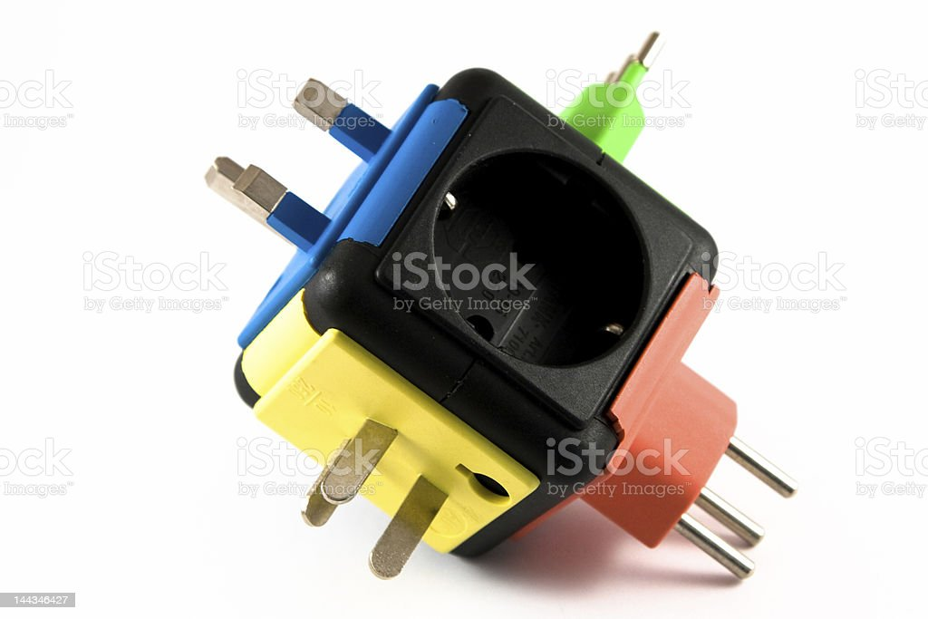 Multi-colored universal travel adapter royalty-free stock photo