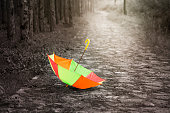 Multi-colored upside down umbrella in rain -