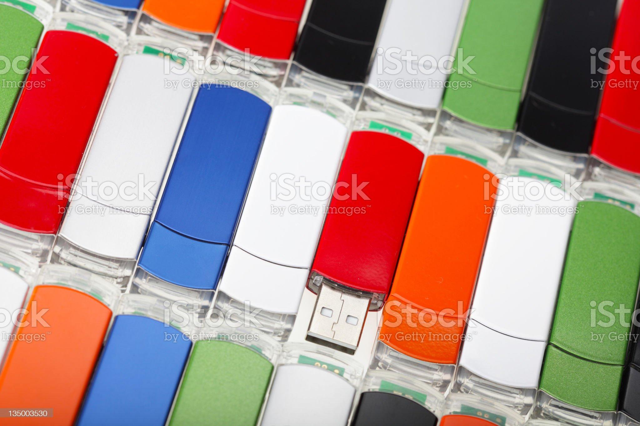 Multicolored USB flash memory drives royalty-free stock photo