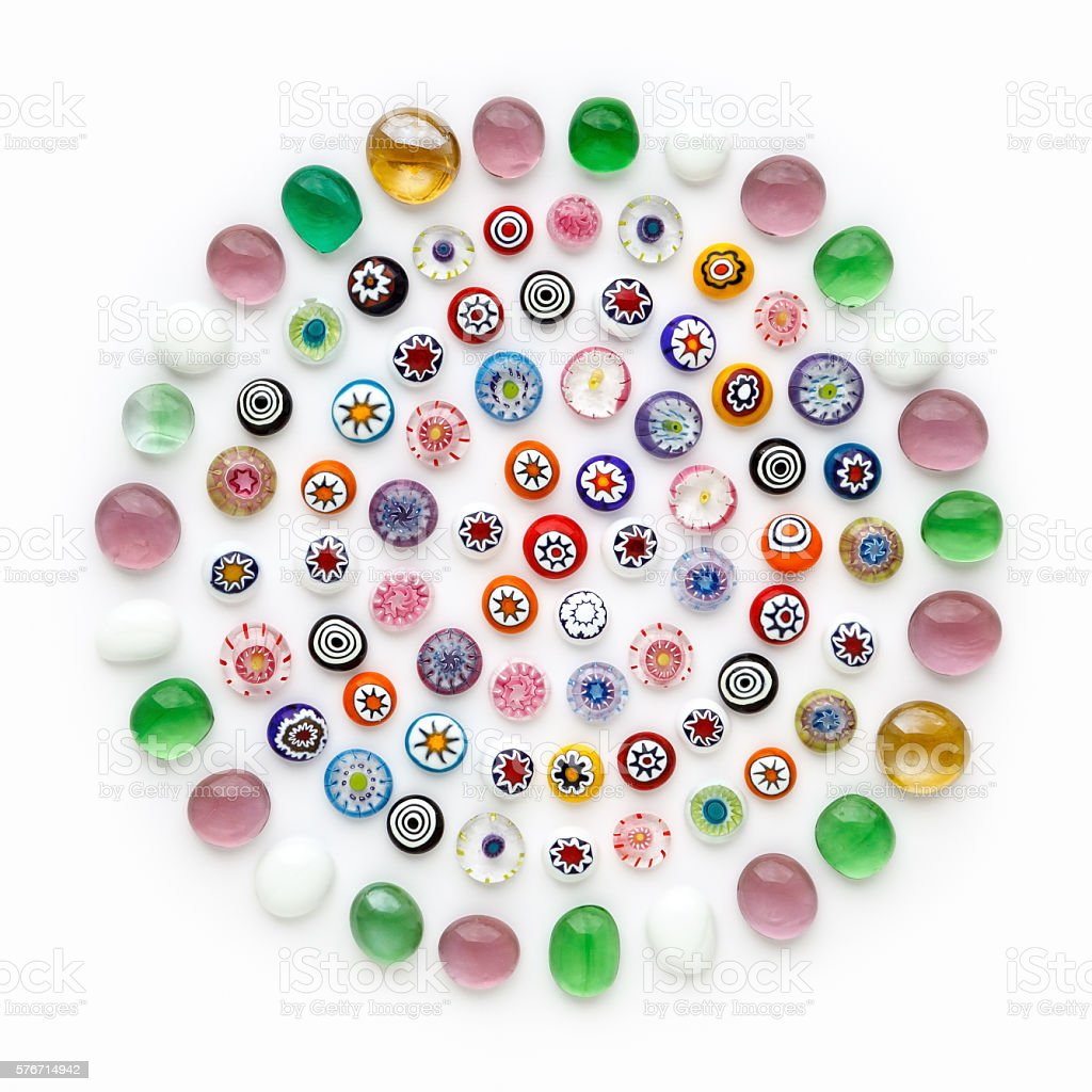 multi-colored Venetian glass, Murano glass, millefiori. stock photo