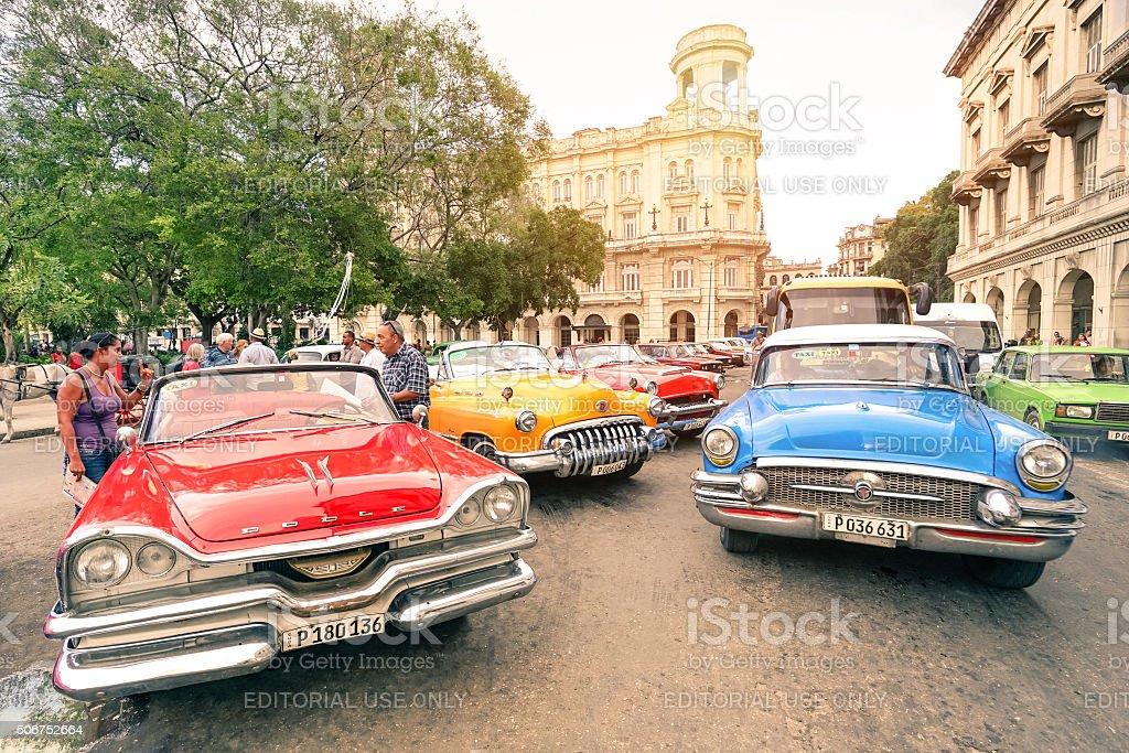 Multicolored vintage american cars in Havana Cuba stock photo