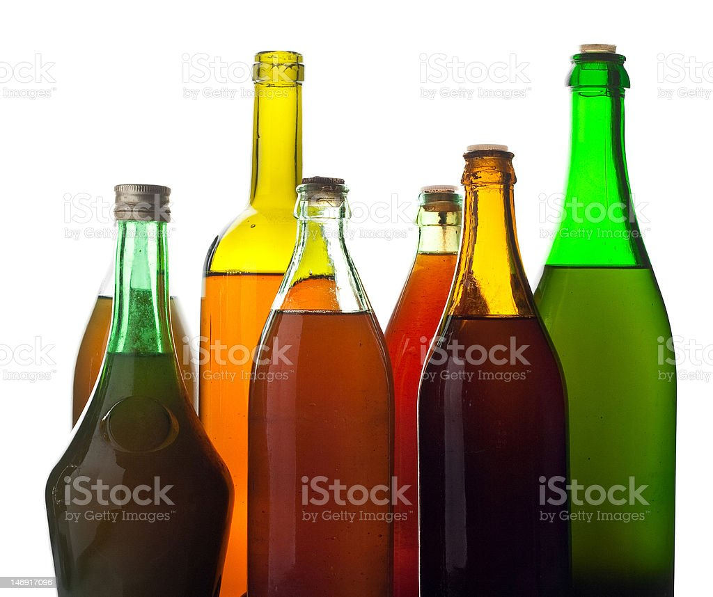 multicolored wine bottles royalty-free stock photo