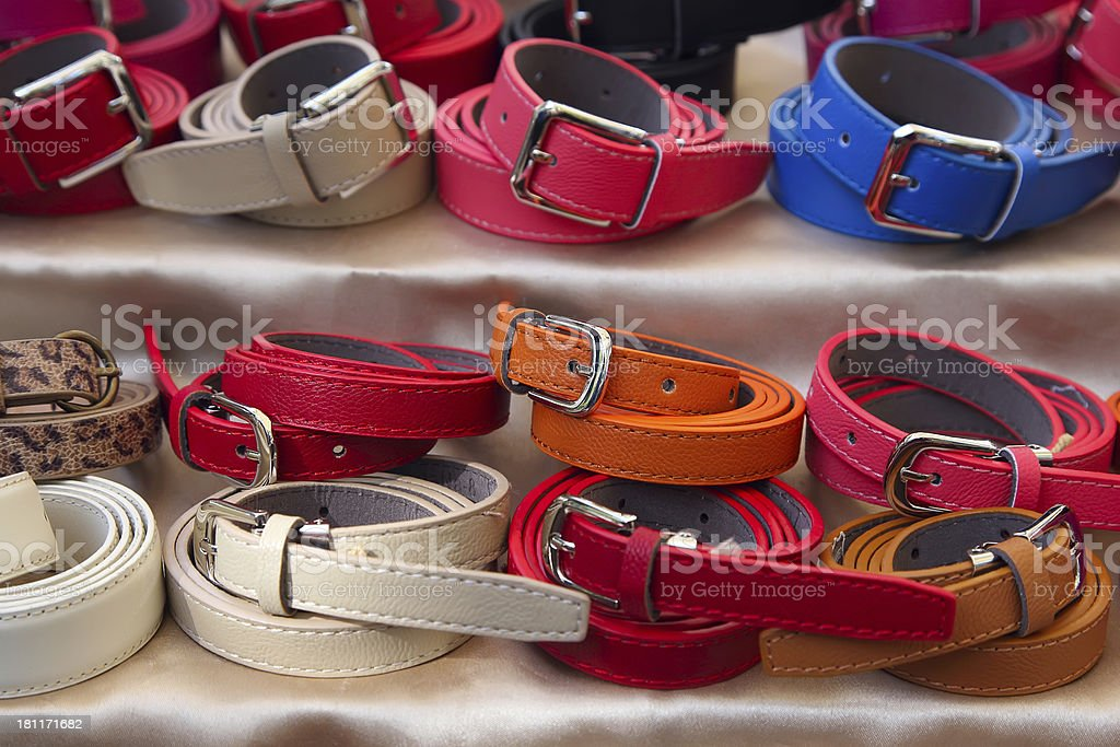 Multicolored women's belts royalty-free stock photo