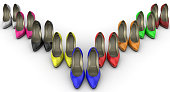 Multicolored women's shoes with high heels