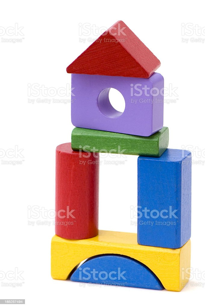 Multicolored Wooden Blocks Tower stock photo