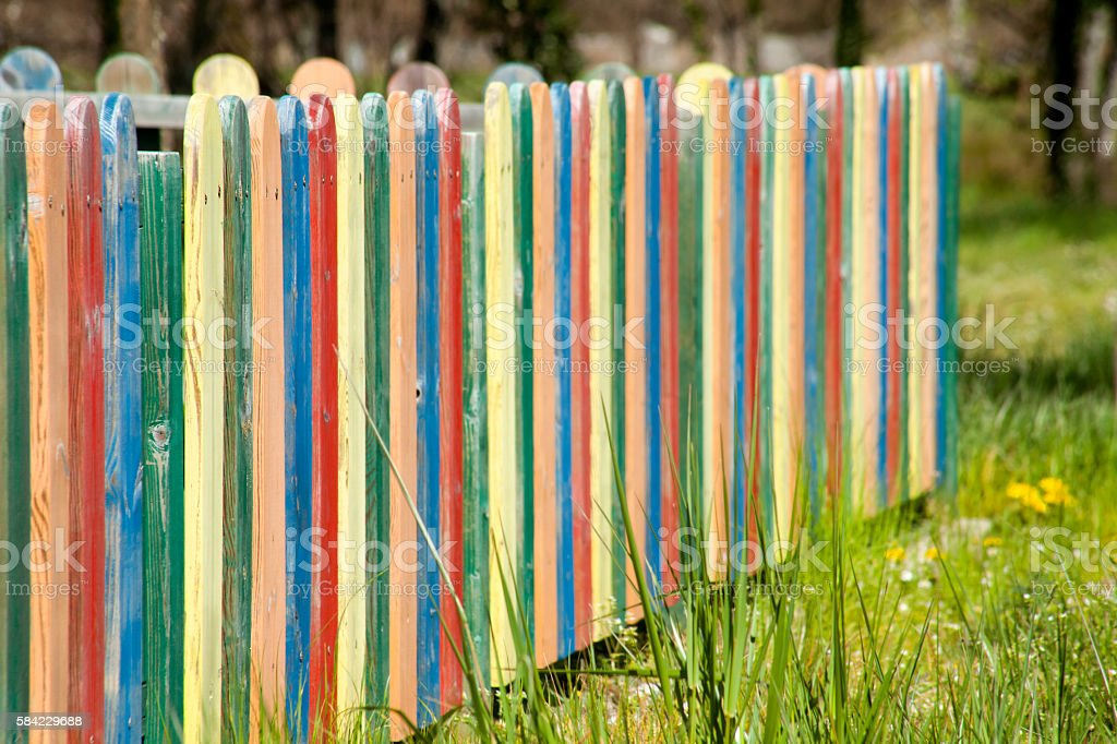 Multicolored Wooden Fence stock photo