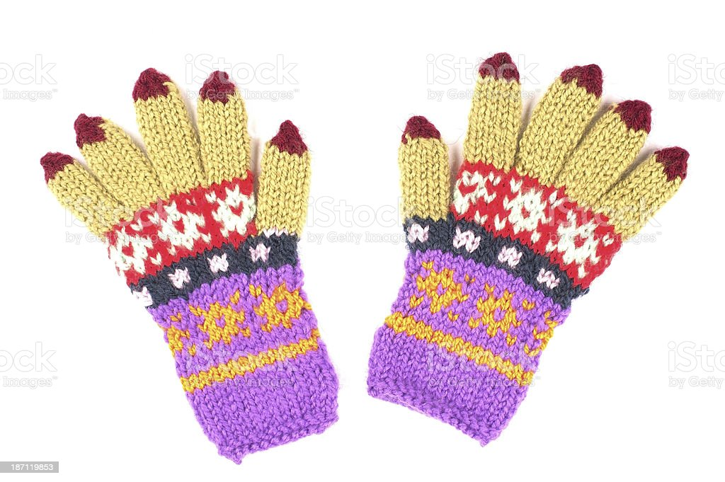 Multicolored Woolen Gloves royalty-free stock photo