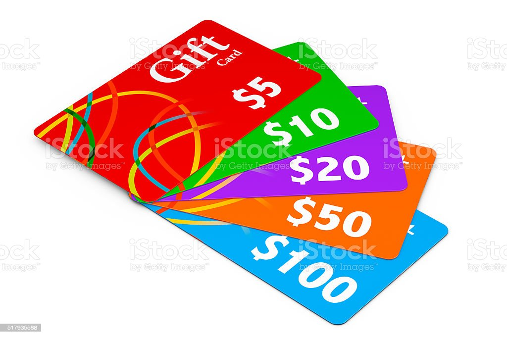 Multicolour Gift Cards stock photo