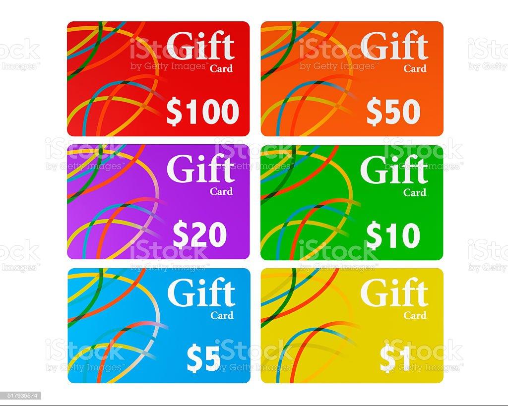 Multicolour Gift Cards Set stock photo