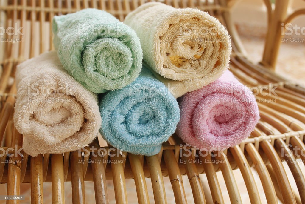 Multicolour towels roll. royalty-free stock photo