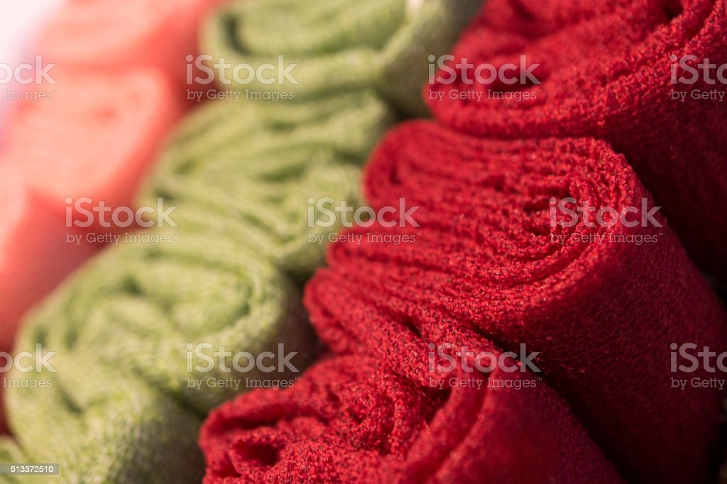 Multicolour towels rolls stock photo
