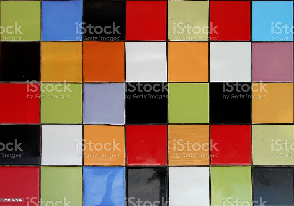 Multicoloured background - ceramic tiles on the table stock photo