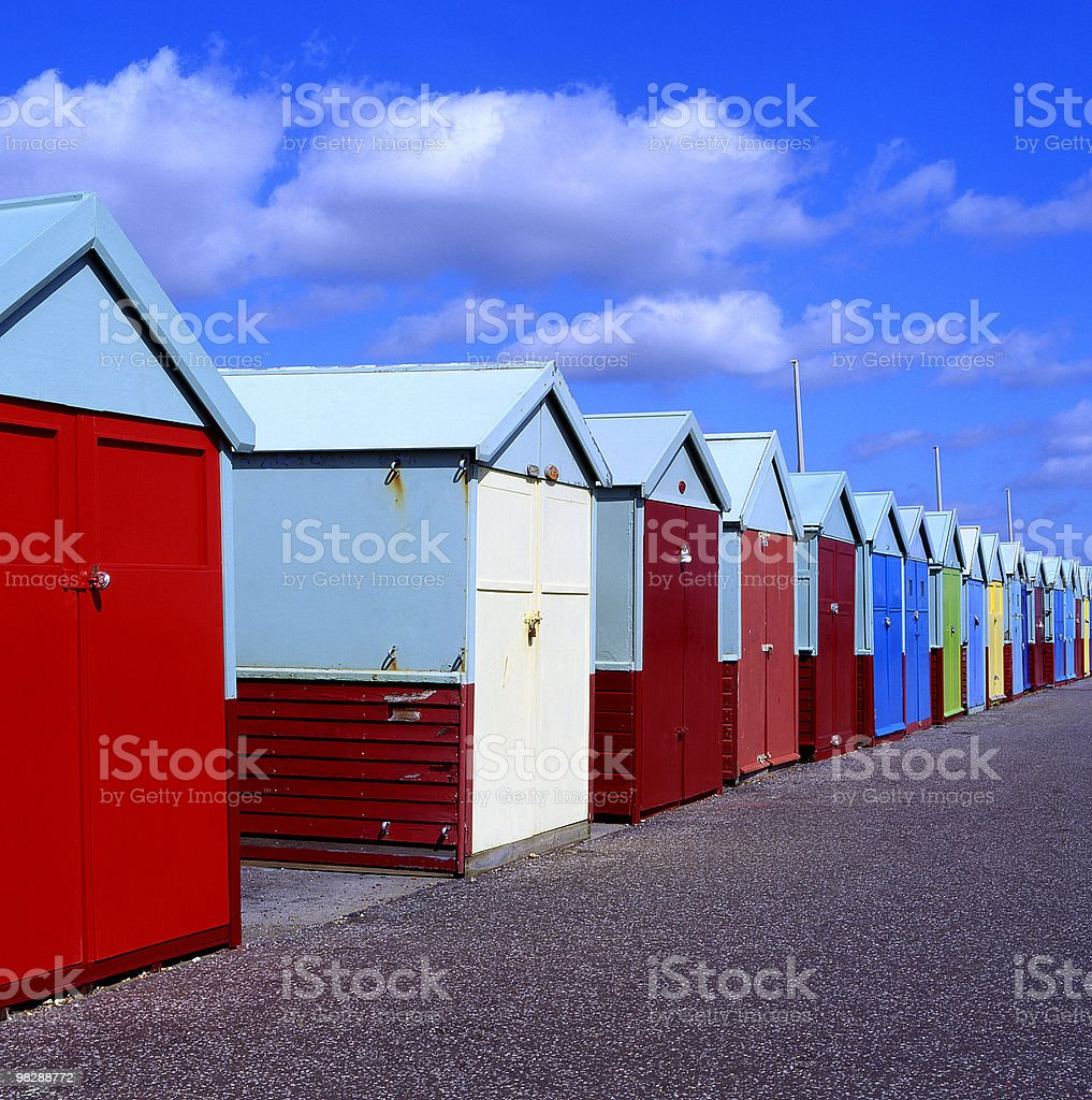 Multi-coloured Beach Huts at Brighton, East Sussex, England royalty-free stock photo