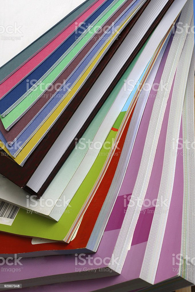 multi-coloured books stock photo