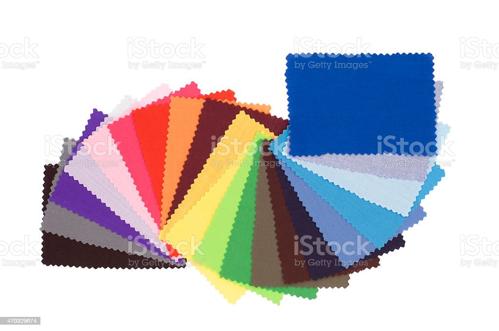 Multicoloured fabric swatchbook stock photo