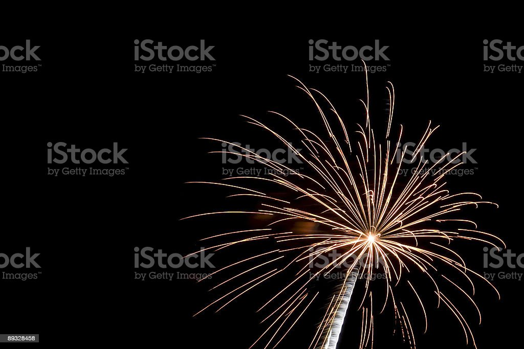Multicoloured Fireworks on a Black Background, Night Scene royalty-free stock photo