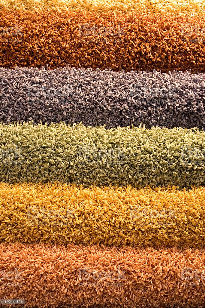Multi-coloured fluffy carpets royalty-free stock photo