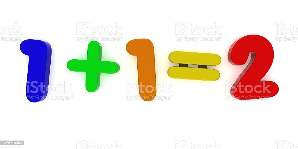 1+1 Multicoloured Fridge Magnet Sum stock photo