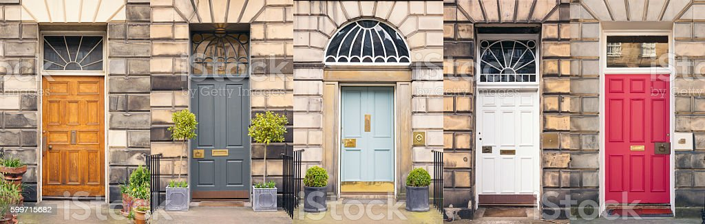 Multi-coloured front doors stock photo