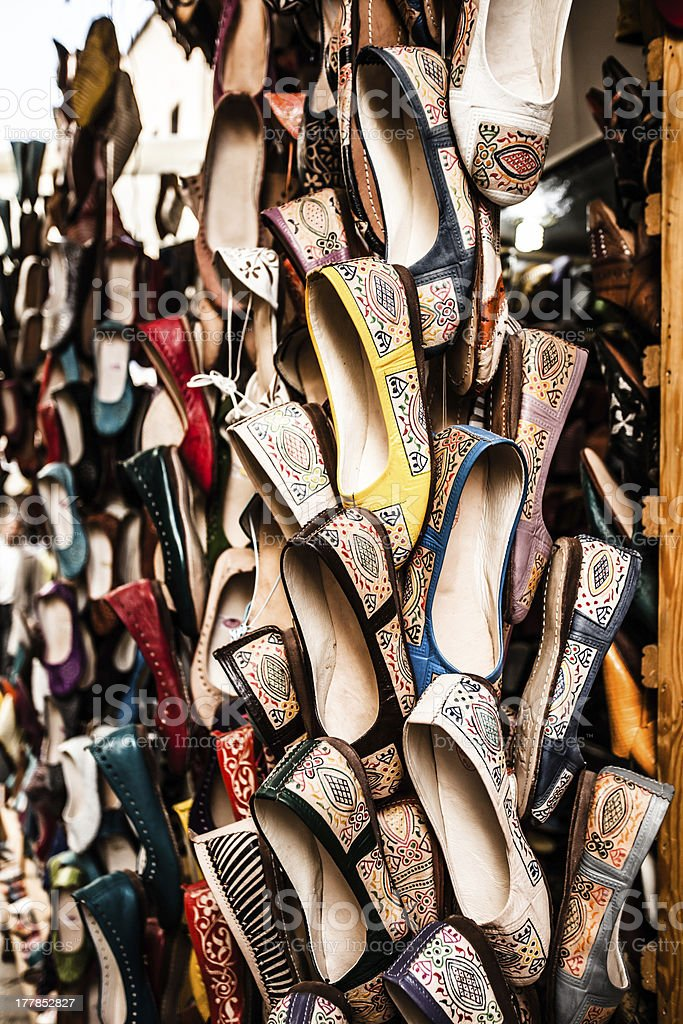 Multicoloured Moroccan slippers, Marrakesh royalty-free stock photo
