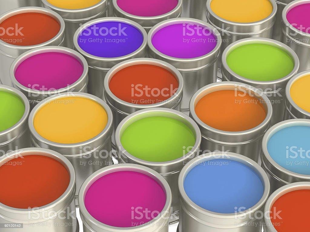 Multi-coloured paints stock photo