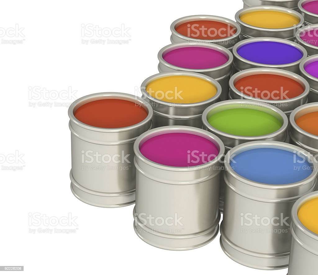 Multi-coloured paints stock photo