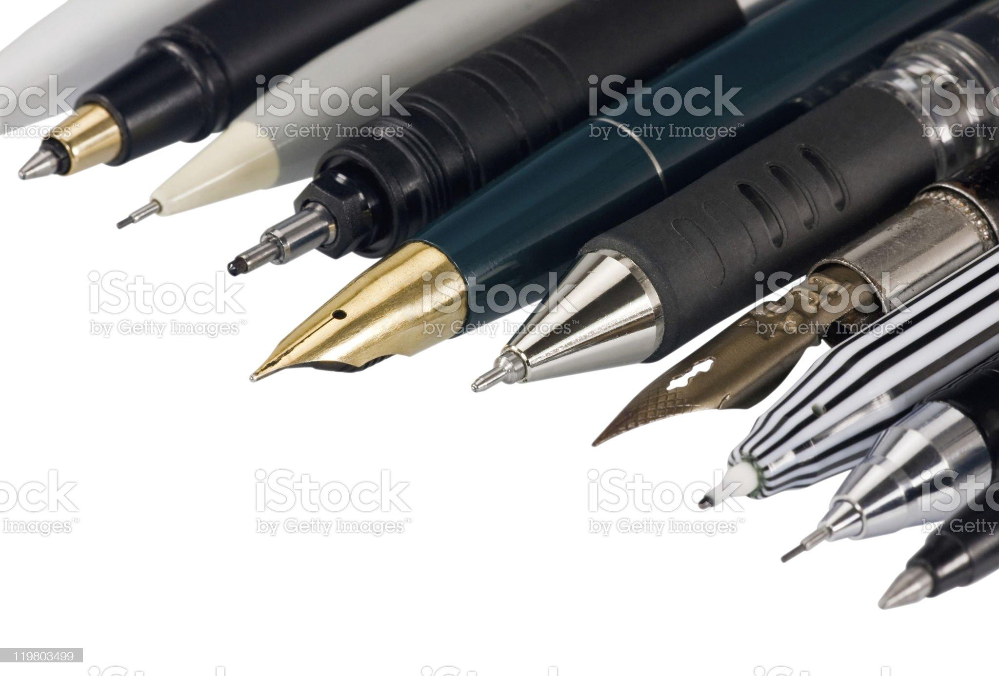 Multi-coloured pens royalty-free stock photo
